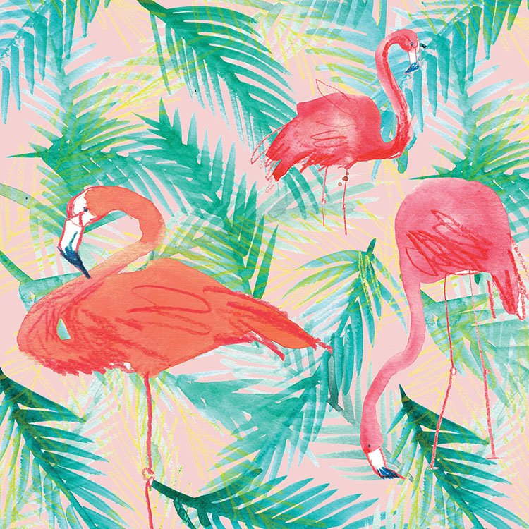 flamingos pink palm leaf laura mckendry