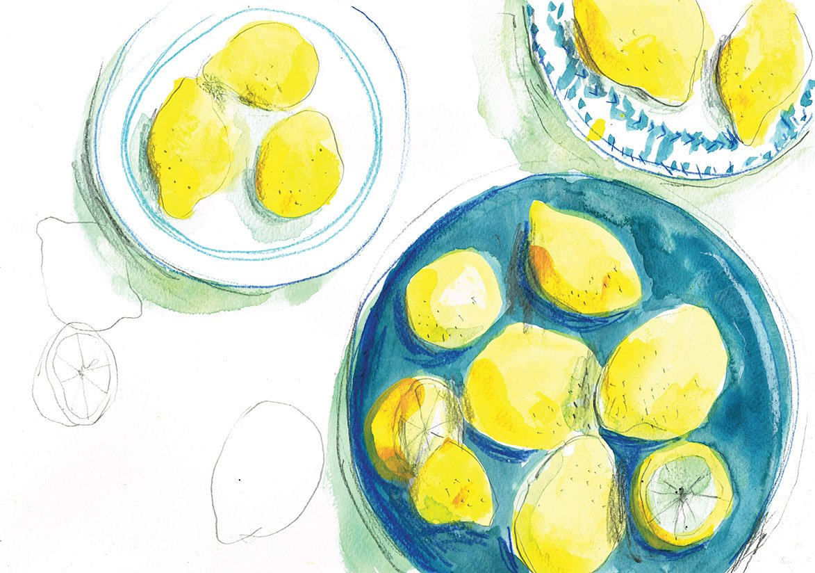 Lemons on three plates