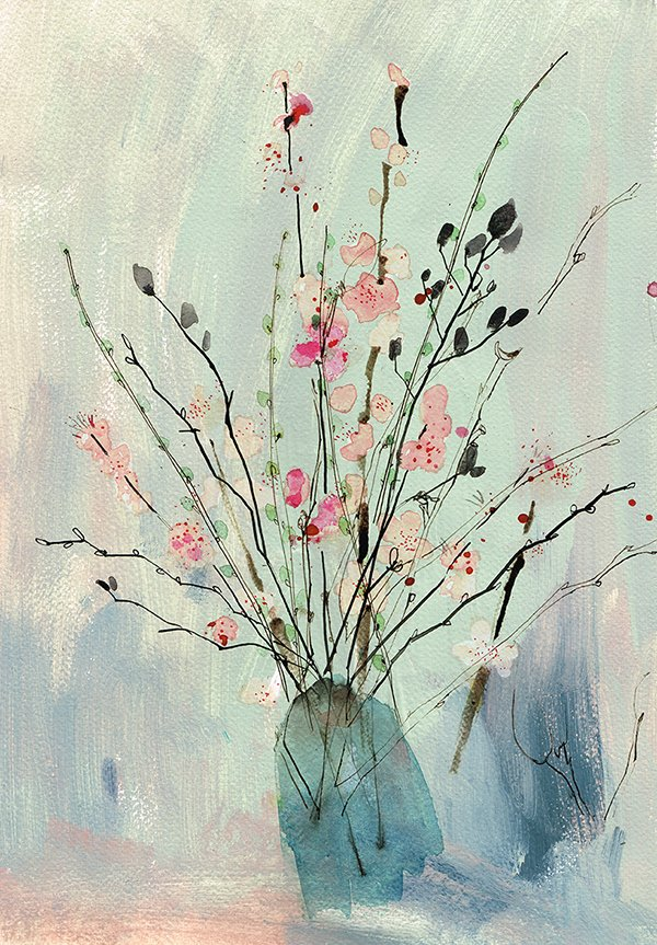 spring branches in vase laura mckendry flower drawing