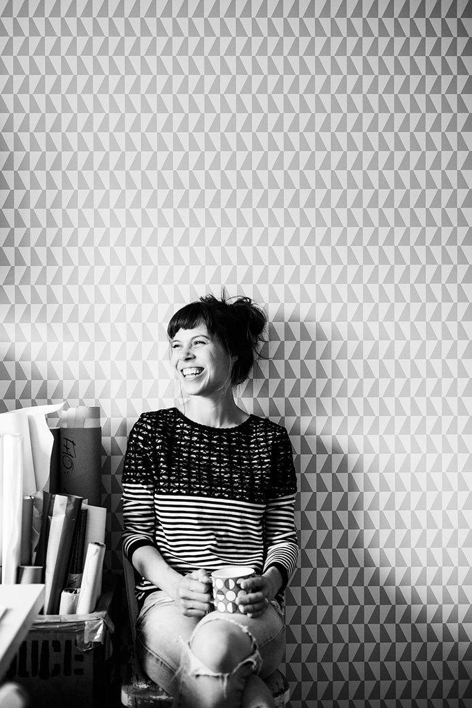 Laura McKendry illustrator in studio