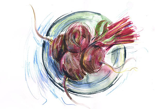 beetroot on a plate laura mckendry food illustrator