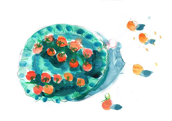 cherry tomatoes on plate 2 laura mckendry food illustrator