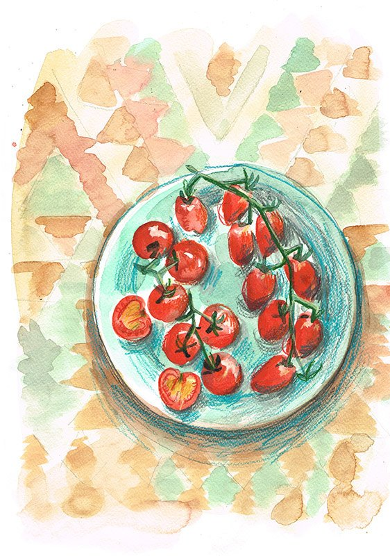 cherry tomatoes on plate laura mckendry food illustrator
