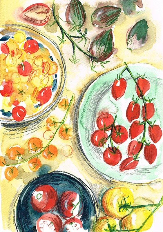 tomatoes on plates laura mckendry food illustration