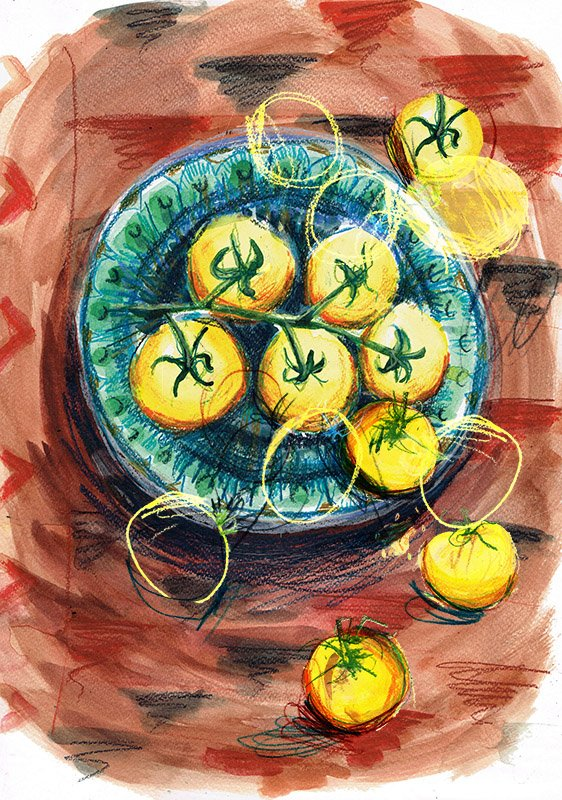 yellow tomatoes laura mckendry food illustration